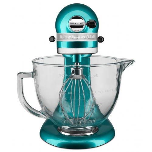 KitchenAid 5 Quart Artisan Stand Mixer Design Series Glass Bowl Electric Blue